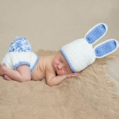 Blue Boy Bunny Wabbit Baby Hat and Diaper Cover Set  What a great bunny set for any newborn boy that is going to have a bunny themed nursery! Take his first photos in this adorable set from Melondipity and display the photos in his bunny themed nursery!   $36.00 USD