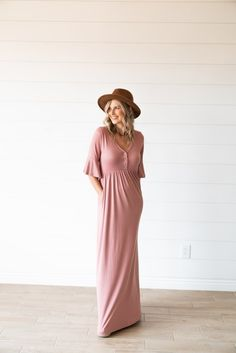 4cc6773b6baf0 Nursing Friendly Button-Front Solid Maxi with Bell Sleeves! Pair with  sandals or a