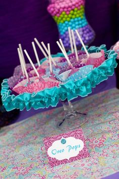 love these colors for a girl's party: green, blue, pink, and purple