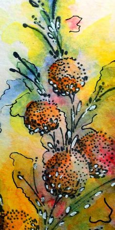 I thought this was an ink drawing but now see it's not. Still, it's lovely! - Eileen's Crafty Zone: Watercolour Paints and a Penny Black Stamp.