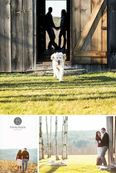 Fun Fall engagement photos with dog at rustic barn in country setting | Tracey Buyce Photography #engagementphotography