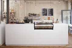 cafe counter, tile, clean, industrial