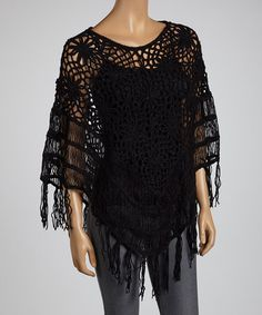 Take a look at this Black Crocheted Fringe Poncho by SR Fashions on #zulily today!