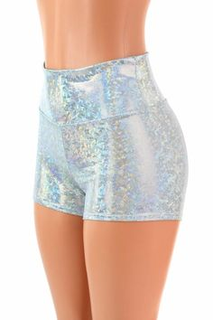 544a4e73c7c49 High Waist Frostbite Shattered Glass Holographic Metallic Spandex Shorts  Festival Rave Clubwear 1544 Spandex Shorts