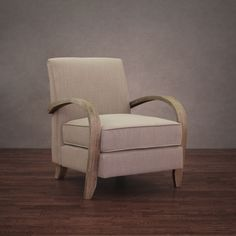 This comfortable armchair features pleasing light beige upholstery in soft linen. The durable wood frame features curved arms and has a rugged natural reclaimed finish. Overstock