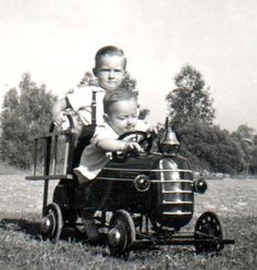 The problem with little brothers is you have to share your pedal car with them...