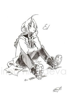 Ed Fullmetal alchemist fan art ink ORIGINAL DRAWING by Walkyrie, $29.00