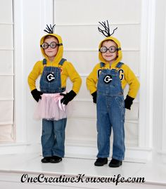 Happy Halloween!     My kids have had homemade costumes  since they were born.   This year they wanted to be Minions from Despicable Me.  ...