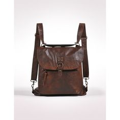 Travel / brown leather convertible bag with traditional purse style... ❤ liked on Polyvore
