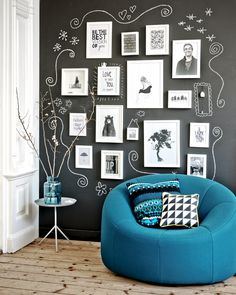 chalkboard wall with white frames