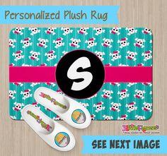Personalized Skulls Rug - Personalized Plush Rug - Personalized Nursery Rug - Children Rug - Nursery Skulls Rug - Custom Skulls Rug