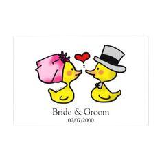 #shower - #cute bride & groom duck wedding guest book