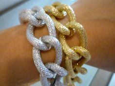 Mixed Metals Chain Link Bracelets; Gold & Silver. Want!