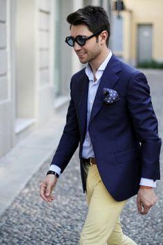 Men's' Navy Blazer, Blue Longsleeve Shirt, Navy Polka Dot Pocket Square, Yellow Chinos, and Brown Leather Belt Navy Blazer Men, Navy Jacket, Blazer Outfits, Blue Blazer Outfit Men, Navy Chinos, Suit Jacket, Moda Men, Naval, Shabby Chic