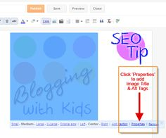 Click Properties in Blogger to Add Image Alt & Titles