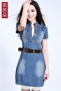 Cheap summer party dress, Buy Quality denim dress directly from China jeans dress Suppliers: HOT! Denim Fashion, Look Fashion, Korean Fashion, Womens Fashion, Fashion Trends, Casual Dresses, Short Dresses, Fashion Dresses, Summer Dresses