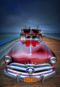 Vintage Ford Woody on Beach Pier at San Clemente, California – USA --- A Beach Car Show, How Cool !