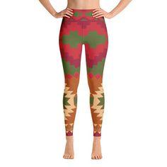 Aztec Mayan Style Geometry Yoga Pants Leggings Red Green Tan