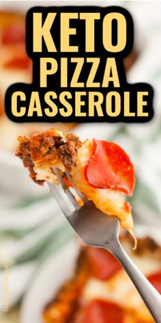YUM is all I can say about this keto casserole recipe! It's a keto PIZZA casserole that is loaded with gooey cheese and flavorful pepperoni for the ultimate pizza flavor. The keto pizza crust is loaded with cheese too! This recipe isn't just for keto - it's great for the low carb diet too as a low carb dinner. Low carb pizza, gluten-free pizza. Pizza Casserole Low Carb, Vegetarian Casserole, Keto Chicken Casserole, Vegetable Casserole, Low Carb Pizza, Casserole Recipes, Healthy Low Carb Recipes, Low Carb Dinner Recipes, Keto Dinner