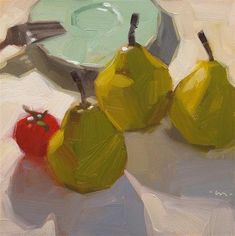 """Tagalong Tomato"" - Original Fine Art for Sale - © Carol Marine"