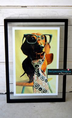 Dachshund Print Photography Mid Century Mad Dog by kalyxcraftopia, $18.00