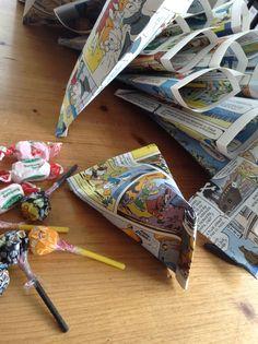Emballage bonbons d'anniversaire avec une vieille BD... Recyclage