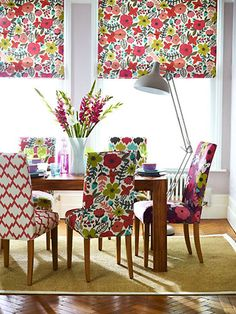 Modern Floral Fabric -- I would make the window shades a solid color though..