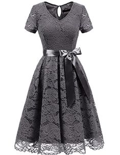 AONOUR Women's Vintage Floral Lace Elegant Cocktail Formal Swing Dress with Short Sleeve Very Short Dress, Short Lace Dress, Floral Lace Dress, Short Sleeve Dresses, Short Sleeves, Plus Size Maxi Dresses, Lace Dresses, Floral Dresses, Elegant Bridesmaid Dresses