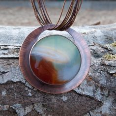 Agate landscapes,copper necklace,c337 ,Copper in pendants,bib necklase,gift for her,agate necklece,handmade necklase,geometric, circle by Artseko on Etsy