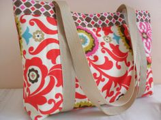red multi color cotton library beach tote bag by BCStudioDesigns