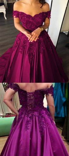 dark purple prom dress,ball gown prom dress,grape prom dress,satin evening gowns,satin wedding dresses