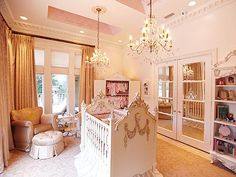 Princess nursery!!! pretty much exactly what I want to do..detailed vintage crib in middle of room, armoire for clothing, luxe rocker, fab shelving, rug under crib, fab curtains, etc.