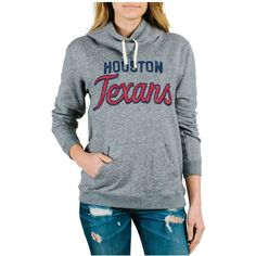 Junk Food Women's Houston Texans Sunday Hoodie ($75) ❤ liked on Polyvore featuring tops, hoodies, grey, gray hoodie, grey hoodie sweatshirt, cotton sweatshirt, cotton hoodie and hoodie sweatshirts