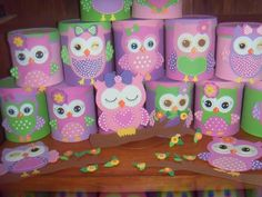 👀💗💗owls rule💜especially💗pink💗💜purple ones-hooty hoot💗💜💜💜💗💜💗💜💗💜💜 Owl Themed Parties, Owl Birthday Parties, Cardboard Crafts, Foam Crafts, Paper Crafts, Tin Can Crafts, Diy And Crafts, Owl 1st Birthdays, Owl Kids