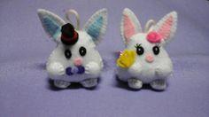 Handmade Couple Rabbit for key chain, bag and handphone accesories