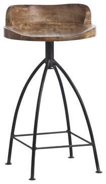 arteriors henson counter stool embrace the trend of industrial chic with this cool counter stool its widelegged natural iron base supp