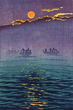 "Japanese Art Print ""Morning Waves"" by Kasamatsu Shiro. Shin Hanga and Art Reproductions http://www.amazon.com/dp/B012I7XPZO/ref=cm_sw_r_pi_dp_2g9twb1HC8CAC"