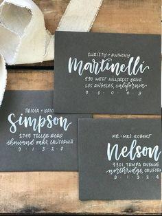 White on grey Hand Lettering Envelopes, Calligraphy Envelope, Envelope Art, Addressing Envelopes, Brush Lettering, Caligraphy, Calligraphy Signs, Wedding Calligraphy, Modern Calligraphy