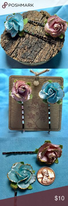 Handcrafted Bobby Pins-Beautiful Paper Flowers 2 handcrafted bobby pins/hair pins with beautiful pastel blue and pink paper flowers. Bobby pins are silver. Please do not wear while showering under a waterfall, swimming with mermaids, or dancing in the rain!  The flowers are water resistant but not waterproof. Accessories Hair Accessories