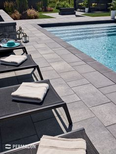 Accentuate your pool by using slabs and pool coping in contrasting colours Swimming Pool Tiles, Swimming Pools Backyard, Swimming Pool Designs, Pool Decks, Lap Pools, Indoor Pools, Pool Pavers, Backyard Pool Landscaping, Concrete Pool