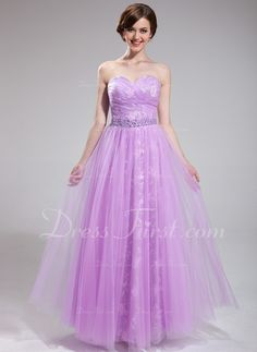 A-Line/Princess Sweetheart Floor-Length Tulle Lace Prom Dress With Ruffle Beading Sequins (018025285) - DressFirst