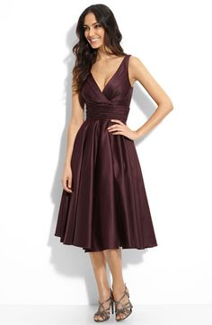 $198, Monique Lhuillier, Nordstrom, Grey and Brown (shown) tea length // ruched waist, not pleated, so looses 50s structure look at neckline and at waist // and hem length ruched folds also loose that look, but the dress is great//the grey dress color might look nice if your dress is white with a grey underneath?