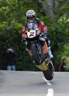John Mcguiness @ Isle of man TT. Worlds fastest lap holder. FEARLESS. I drove his race transporter at Vimto Honda for a while and found him to be an all-round good guy.