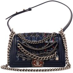 Chanel Navy Blue Tweed Dechained Chain Boy Flap Bag   From a collection of rare vintage handbags and purses at https://www.1stdibs.com/fashion/accessories/handbags-purses/ fbc  V SPENDY 7K FBC XMAS