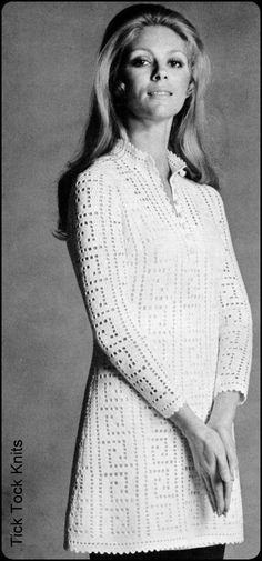 "No.83 PDF Vintage Crochet Pattern Women's Filet Crochet Tunic or Dress w/ Greek Key Motif - Finished Bust Sizes 34"", 38"", 41"". $3.50, via Etsy."