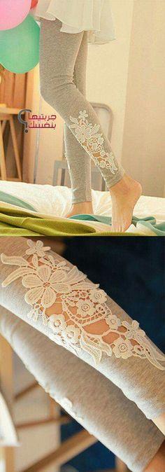 Hyrule Warriors, Lana's leggins idea :) Grey Leggings with Floral Applique Cutout Lace // SO cUte! Floral Leggings, Grey Leggings, Cheap Leggings, Awesome Leggings, Diy Fashion, Autumn Fashion, Woman Fashion, Diy Clothing, Mode Inspiration