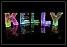 The Name Kelly in 3D coloured lights #Kelly #Name