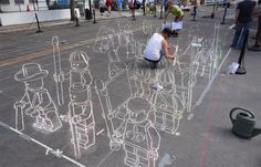 lego chalk army takes to the streets! ... this is 2D art!! coolest thing i've ever seen!