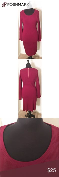 Rue21 Merlot Knit Sweater Dress Knit Sweater Dress with gold zipper enclosure in back. Size 2X, NWT. Excellent quality! Made very well. Rue 21 Dresses Mini