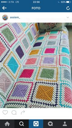 crocheted giant granny square blanket